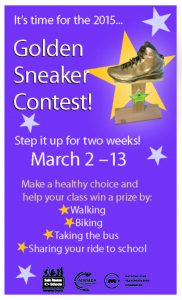 flyer for the golden sneaker contest March 2 to 13, 2015