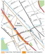 map of freeways in San Leandro