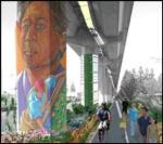 Murals painted on freeway columns