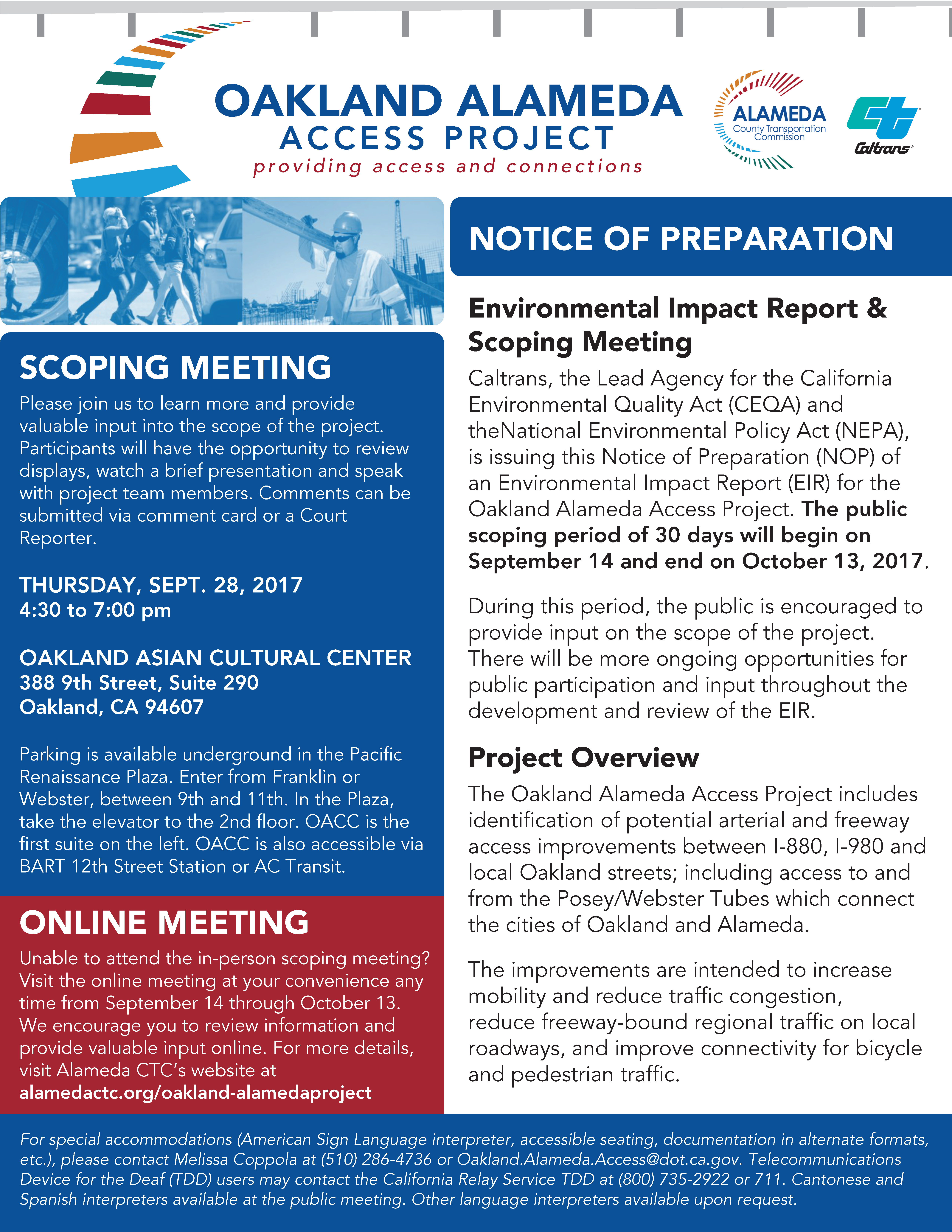 Oakland-Alameda Access Project Scoping Meeting Flyer English