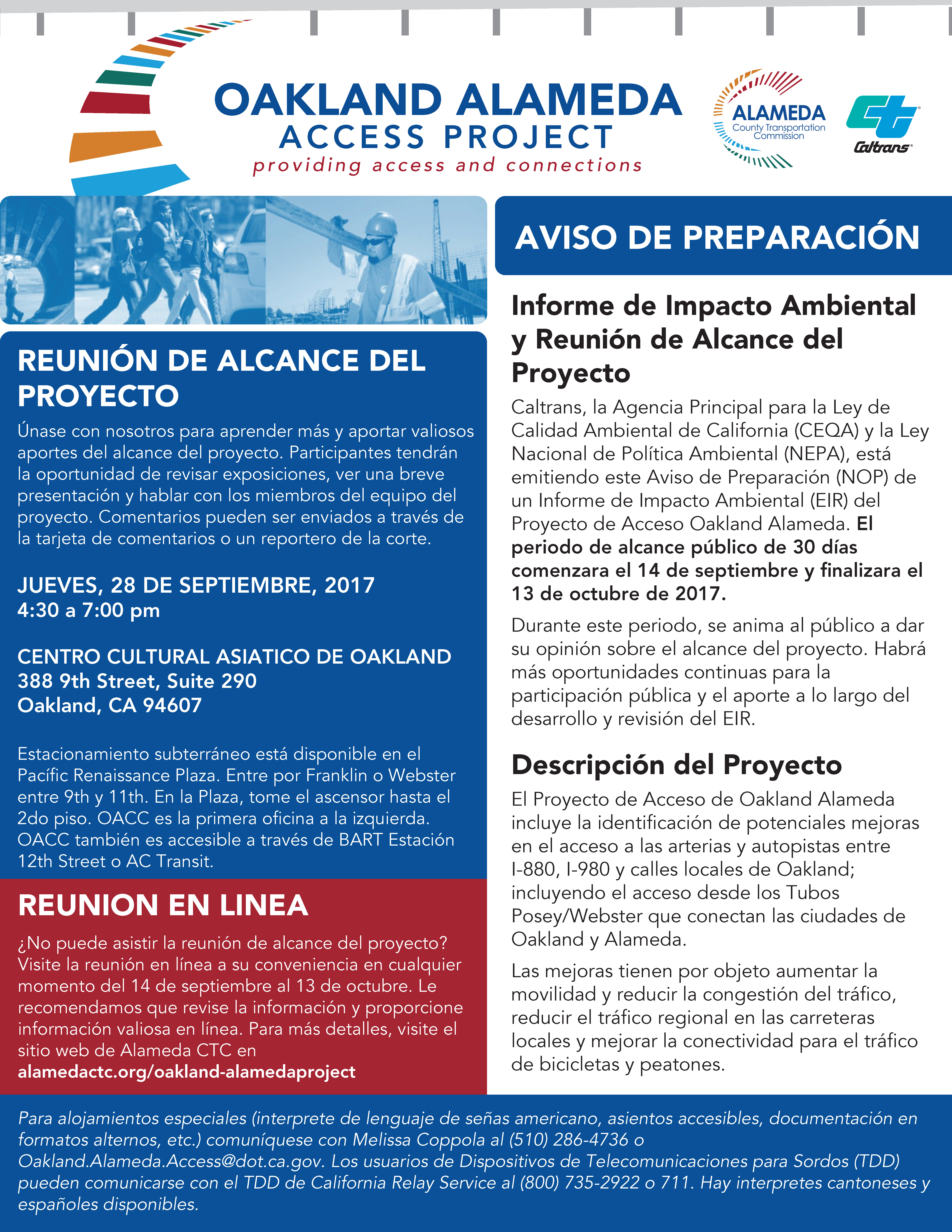Oakland-Alameda Access Project Scoping Meeting Flyer Spanish
