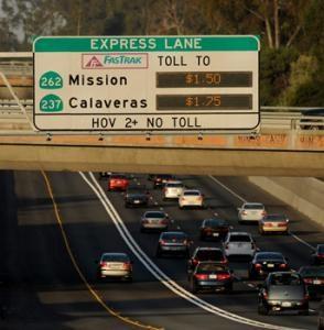 calaveras express lane digital sign above freeway