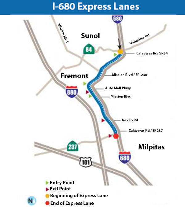 I-680 Express Lanes map