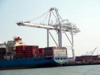 cargo ships in a ship yard
