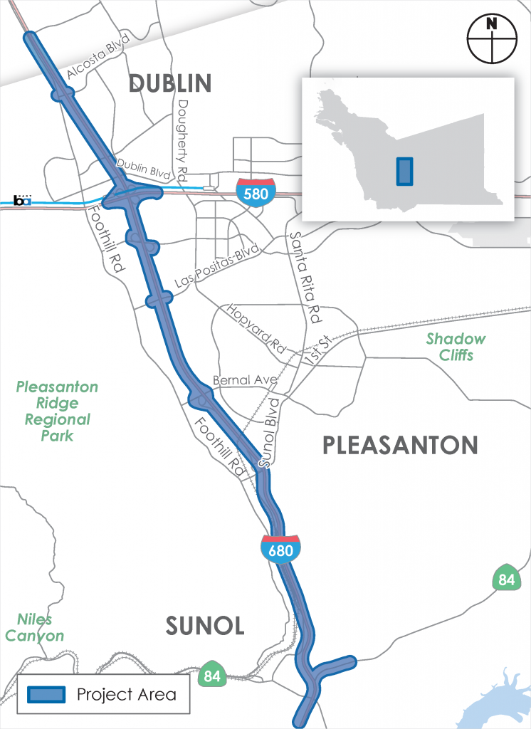 Map of I-680 Express Lanes from SR-84 to Alcosta Blvd project