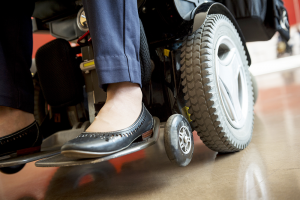 Close-up of wheelchair wheels