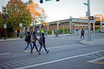 students walking and biking to school